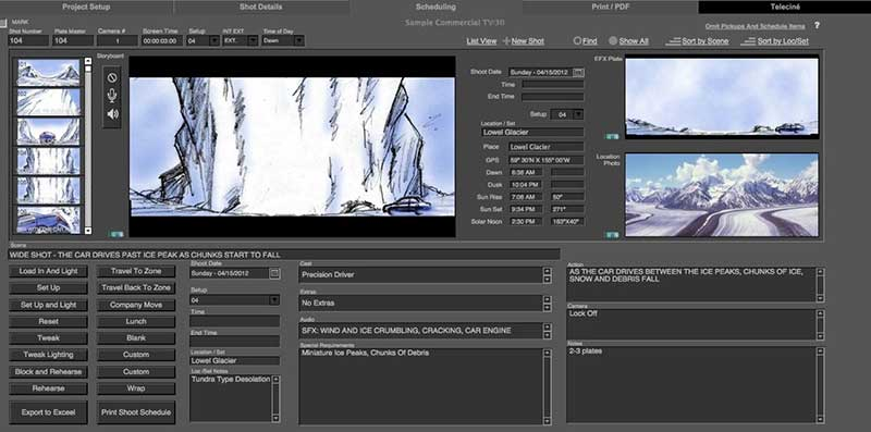 Director's Shot list creation Software